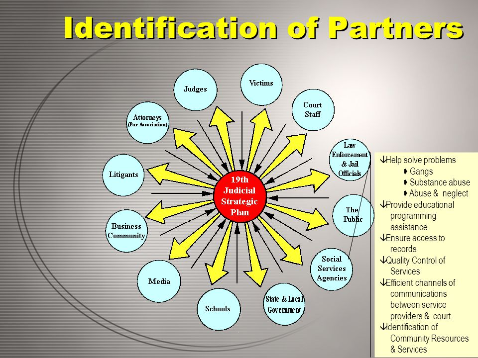 Identification of Partners â Help solve problems Gangs Substance abuse Abuse & neglect â Provide educational programming assistance â Ensure access to records â Quality Control of Services â Efficient channels of communications between service providers & court â Identification of Community Resources & Services