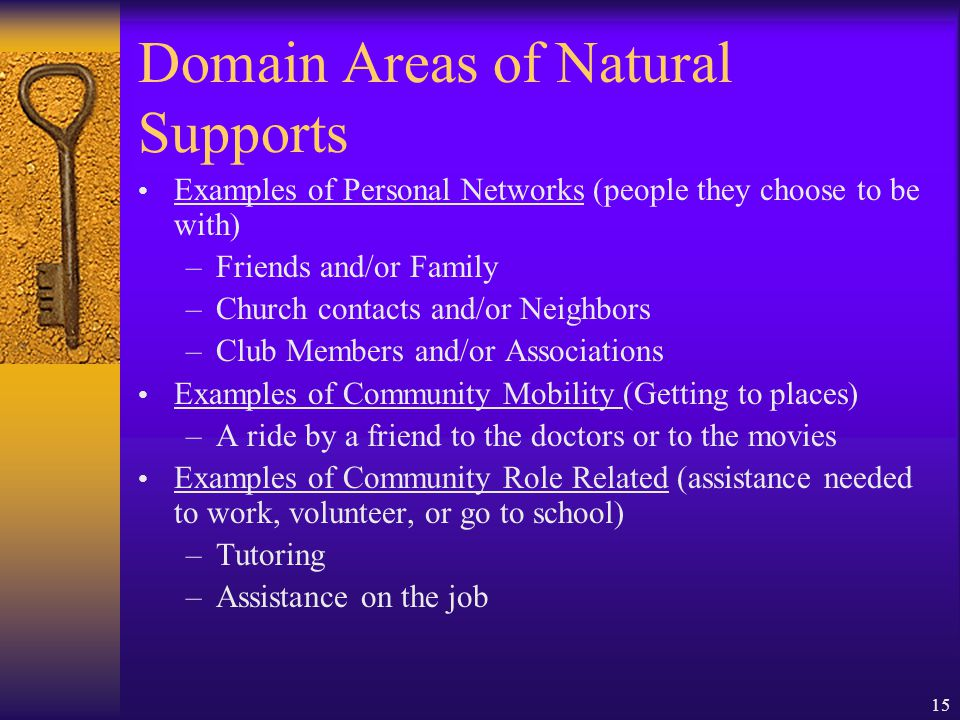 15 Domain Areas of Natural Supports Examples of Personal Networks (people they choose to be with) –Friends and/or Family –Church contacts and/or Neighbors –Club Members and/or Associations Examples of Community Mobility (Getting to places) –A ride by a friend to the doctors or to the movies Examples of Community Role Related (assistance needed to work, volunteer, or go to school) –Tutoring –Assistance on the job