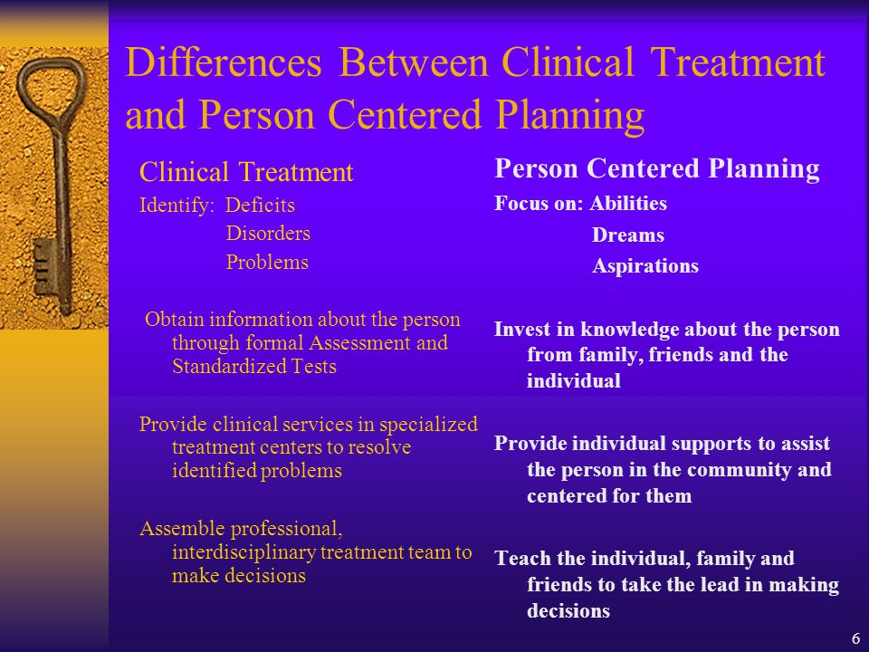 6 Differences Between Clinical Treatment and Person Centered Planning Clinical Treatment Identify: Deficits Disorders Problems Obtain information about the person through formal Assessment and Standardized Tests Provide clinical services in specialized treatment centers to resolve identified problems Assemble professional, interdisciplinary treatment team to make decisions Person Centered Planning Focus on: Abilities Dreams Aspirations Invest in knowledge about the person from family, friends and the individual Provide individual supports to assist the person in the community and centered for them Teach the individual, family and friends to take the lead in making decisions