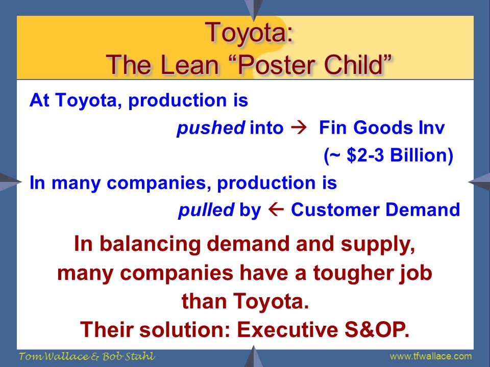 www.tfwallace.com Tom Wallace & Bob Stahl Toyota: The Lean Poster Child At Toyota, production is pushed into Fin Goods Inv (~ $2-3 Billion) In many co