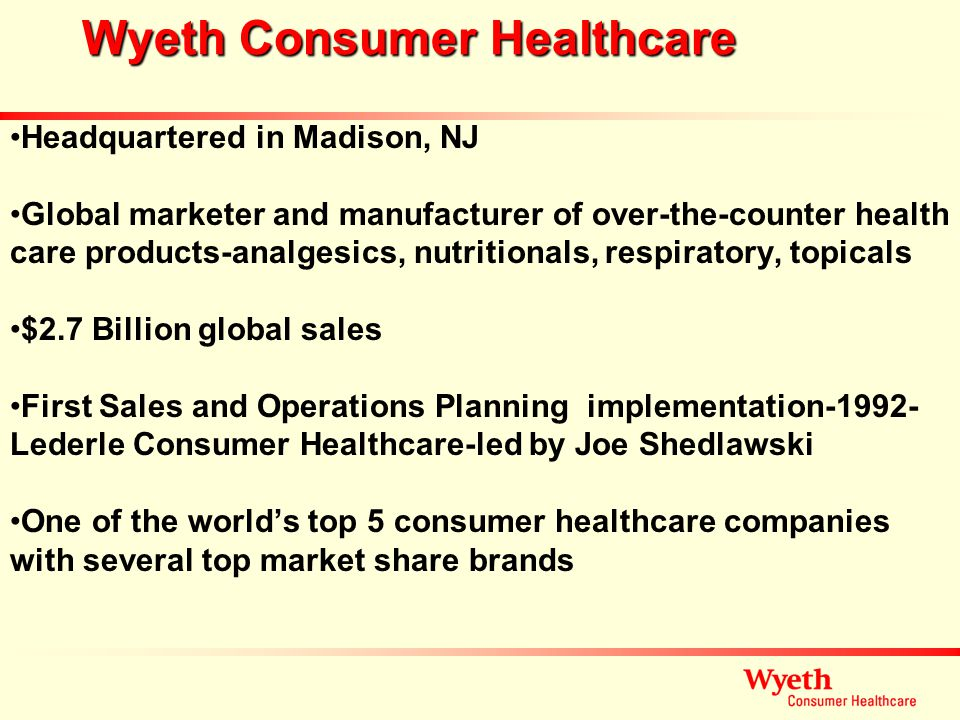 Wyeth Consumer Healthcare Headquartered in Madison, NJ Global marketer and manufacturer of over-the-counter health care products-analgesics, nutrition