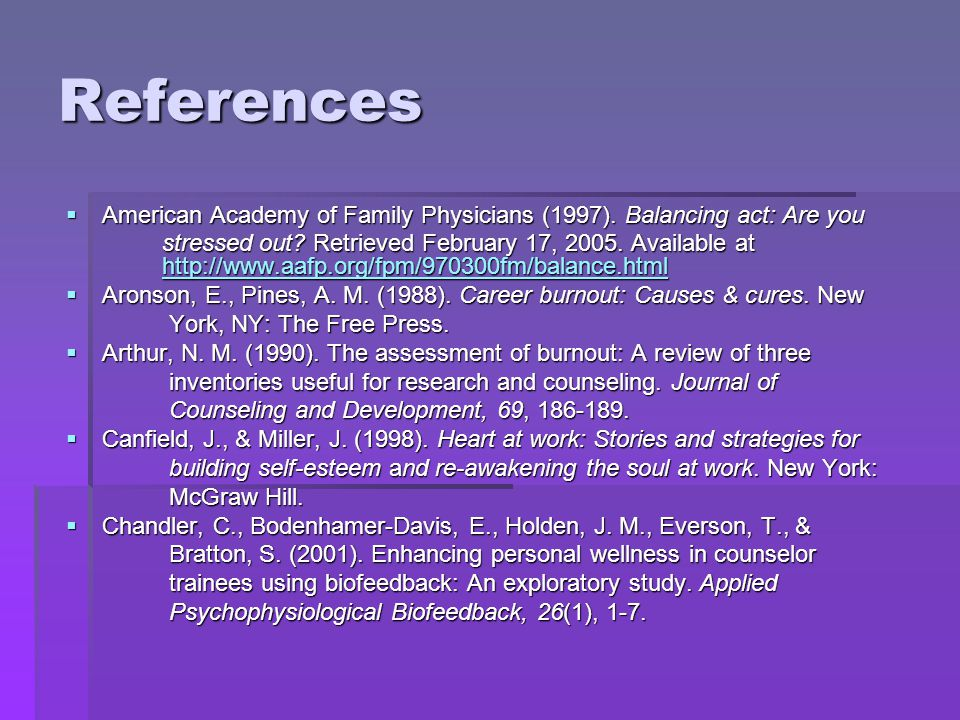References American Academy of Family Physicians (1997).