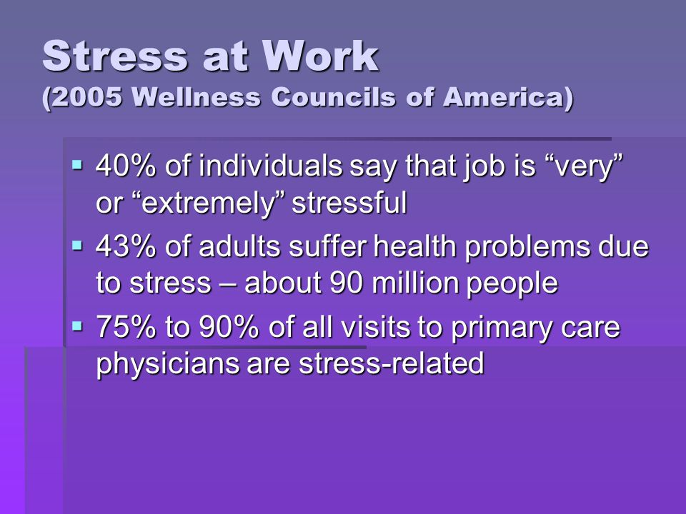 Stress at Work (2005 Wellness Councils of America) 40% of individuals say that job is very or extremely stressful 40% of individuals say that job is very or extremely stressful 43% of adults suffer health problems due to stress – about 90 million people 43% of adults suffer health problems due to stress – about 90 million people 75% to 90% of all visits to primary care physicians are stress-related 75% to 90% of all visits to primary care physicians are stress-related