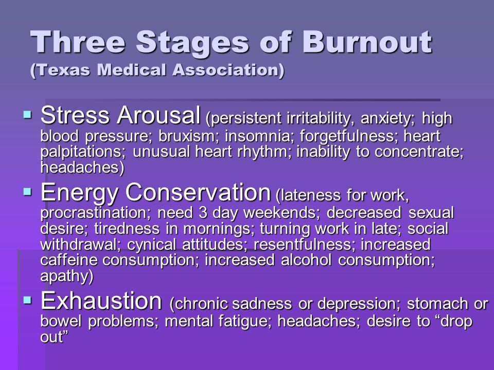 Three Stages of Burnout (Texas Medical Association) Stress Arousal (persistent irritability, anxiety; high blood pressure; bruxism; insomnia; forgetfulness; heart palpitations; unusual heart rhythm; inability to concentrate; headaches) Stress Arousal (persistent irritability, anxiety; high blood pressure; bruxism; insomnia; forgetfulness; heart palpitations; unusual heart rhythm; inability to concentrate; headaches) Energy Conservation (lateness for work, procrastination; need 3 day weekends; decreased sexual desire; tiredness in mornings; turning work in late; social withdrawal; cynical attitudes; resentfulness; increased caffeine consumption; increased alcohol consumption; apathy) Energy Conservation (lateness for work, procrastination; need 3 day weekends; decreased sexual desire; tiredness in mornings; turning work in late; social withdrawal; cynical attitudes; resentfulness; increased caffeine consumption; increased alcohol consumption; apathy) Exhaustion (chronic sadness or depression; stomach or bowel problems; mental fatigue; headaches; desire to drop out Exhaustion (chronic sadness or depression; stomach or bowel problems; mental fatigue; headaches; desire to drop out