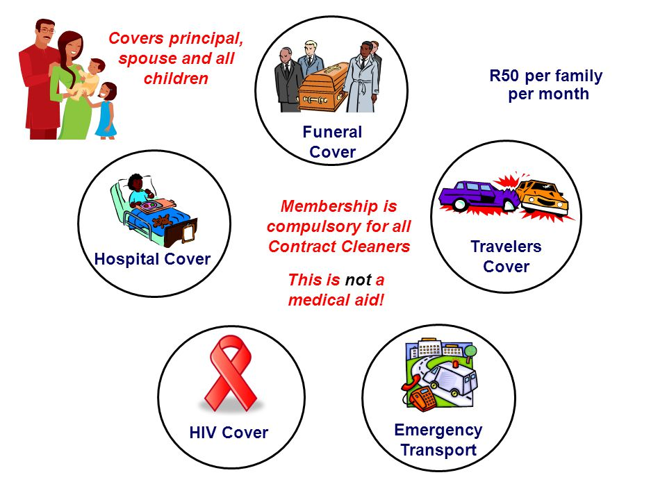 Hospital Cover HIV Cover Travelers Cover Funeral Cover Emergency Transport Covers principal, spouse and all children Membership is compulsory for all