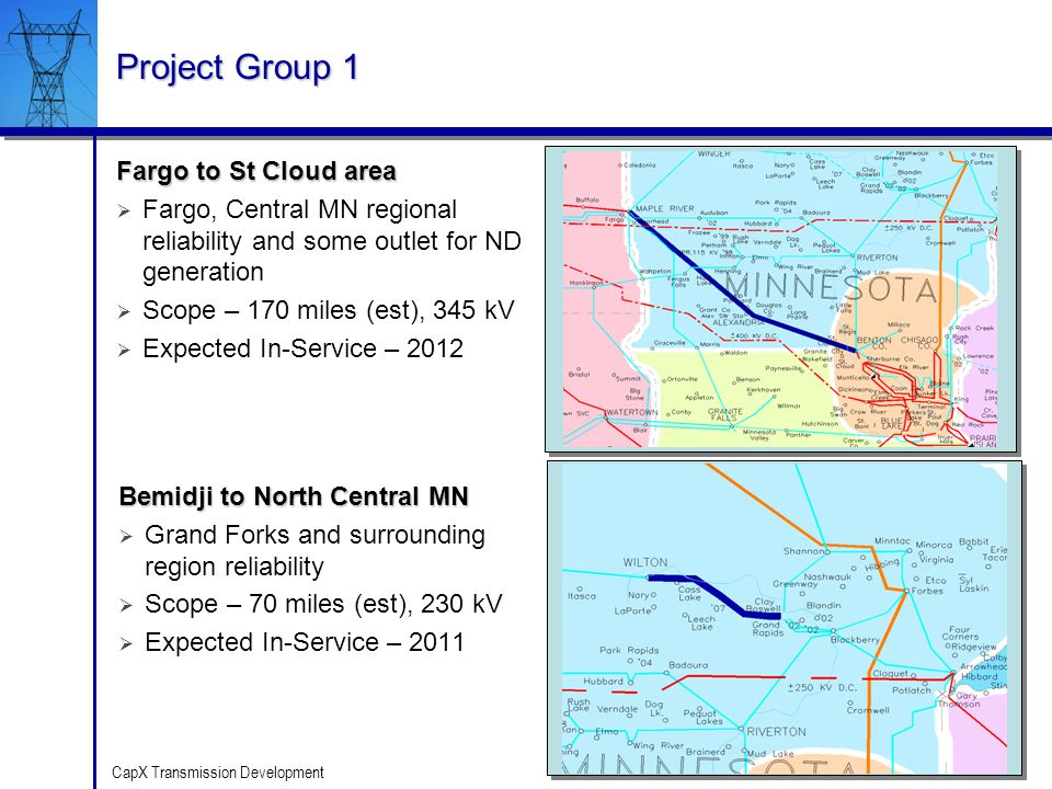 20 CapX Transmission Development Project Group 1 Bemidji to North Central MN Grand Forks and surrounding region reliability Scope – 70 miles (est), 23