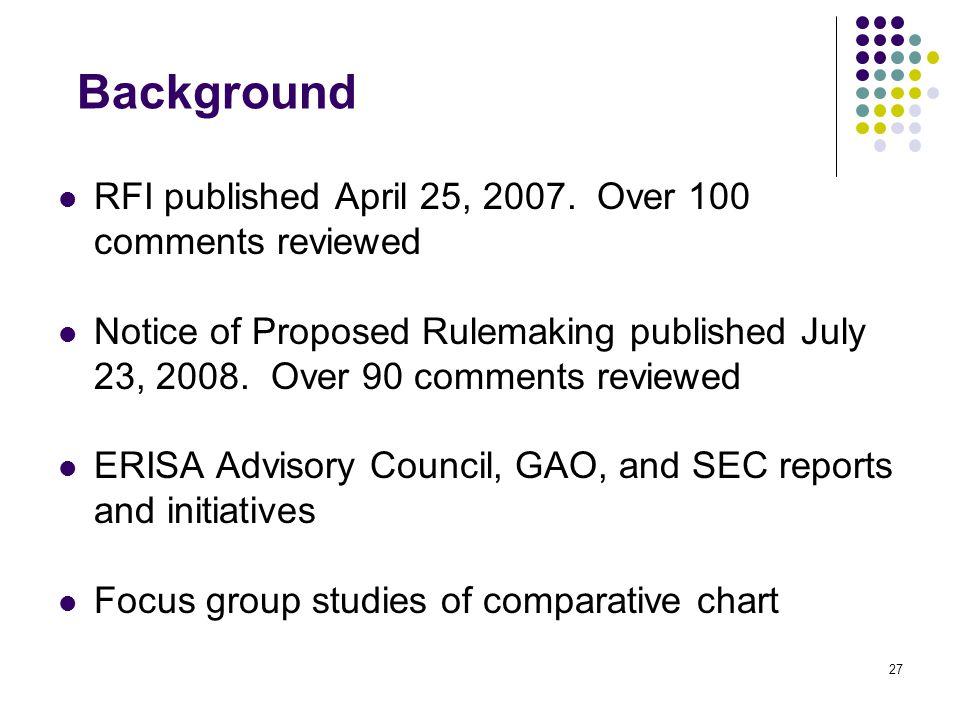 27 Background RFI published April 25, 2007.