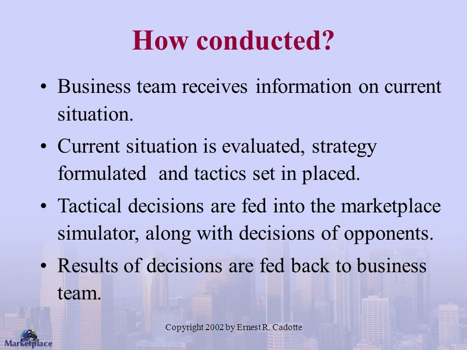 Copyright 2002 by Ernest R. Cadotte How conducted? Business team receives information on current situation. Current situation is evaluated, strategy f