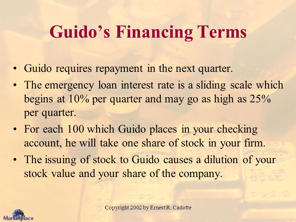 Copyright 2002 by Ernest R. Cadotte Guidos Financing Terms Guido requires repayment in the next quarter. The emergency loan interest rate is a sliding