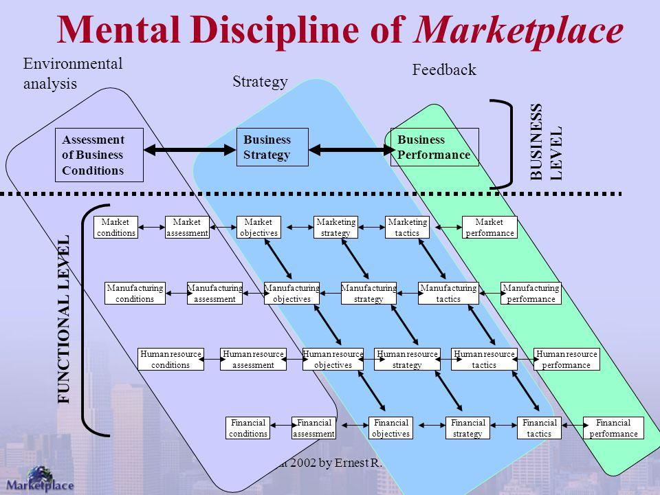 Copyright 2002 by Ernest R. Cadotte Market conditions Marketing strategy Marketing tactics Market assessment Market objectives Market performance Manu