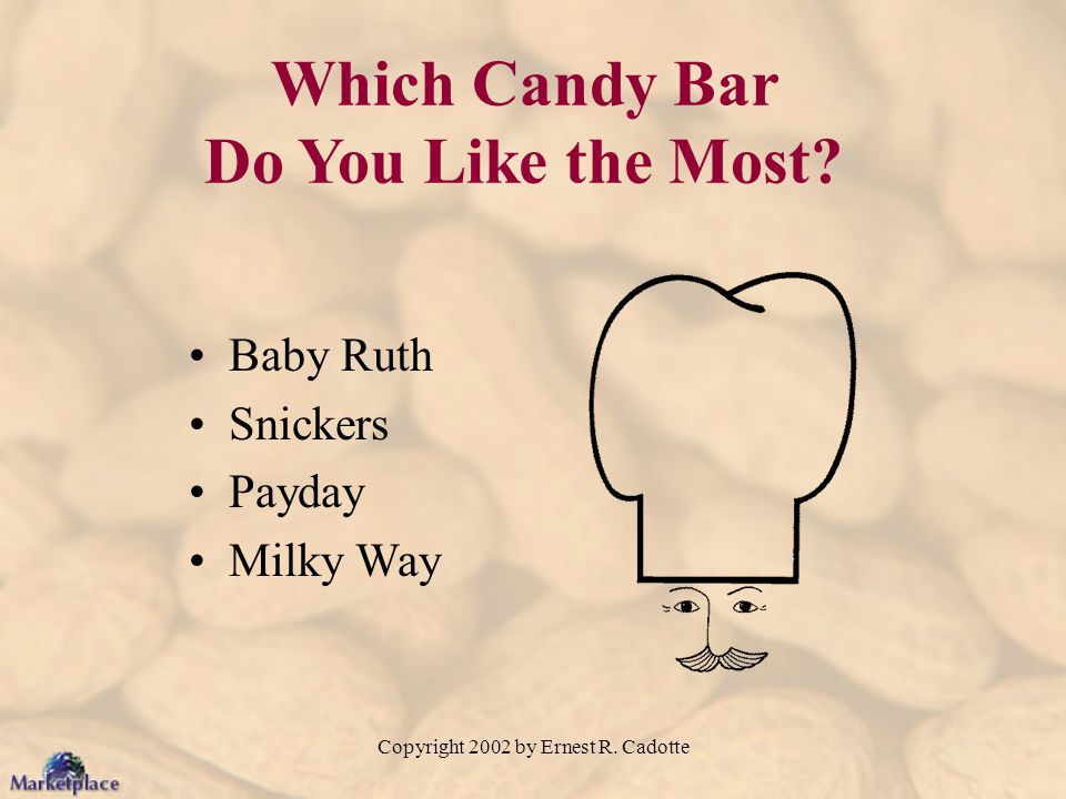 Copyright 2002 by Ernest R. Cadotte Which Candy Bar Do You Like the Most? Baby Ruth Snickers Payday Milky Way