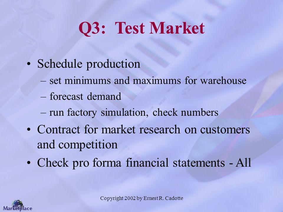 Copyright 2002 by Ernest R. Cadotte Q3: Test Market Schedule production –set minimums and maximums for warehouse –forecast demand –run factory simulat