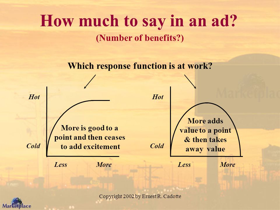 Copyright 2002 by Ernest R. Cadotte How much to say in an ad? (Number of benefits?) Which response function is at work? More is good to a point and th