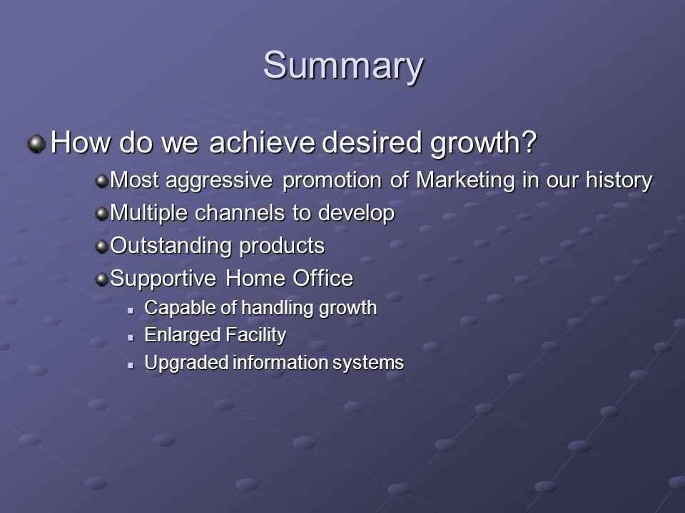 Summary How do we achieve desired growth.