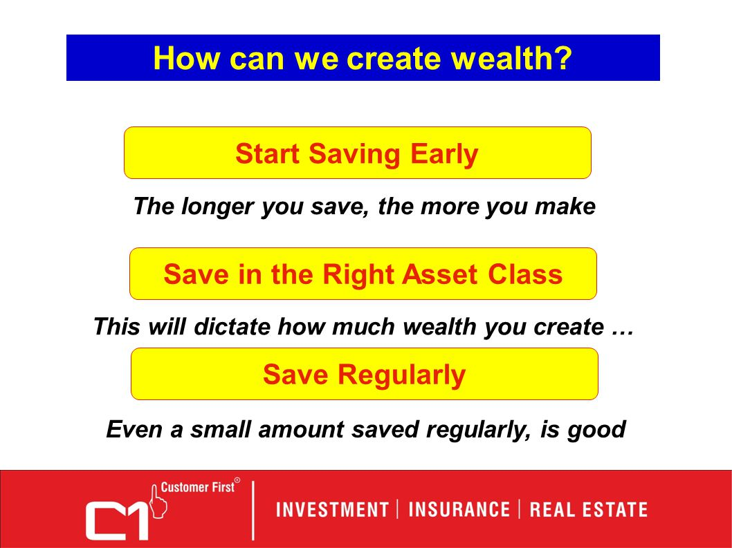 How can we create wealth? Start Saving Early The longer you save, the more you make Save in the Right Asset Class This will dictate how much wealth yo