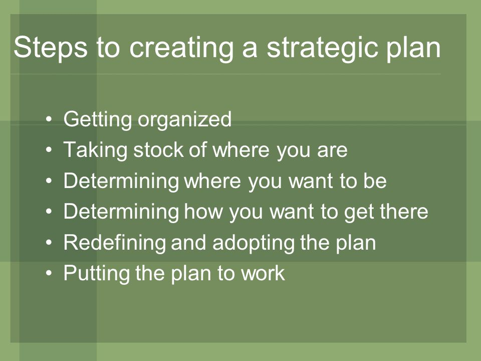 Steps to creating a strategic plan Getting organized Taking stock of where you are Determining where you want to be Determining how you want to get there Redefining and adopting the plan Putting the plan to work