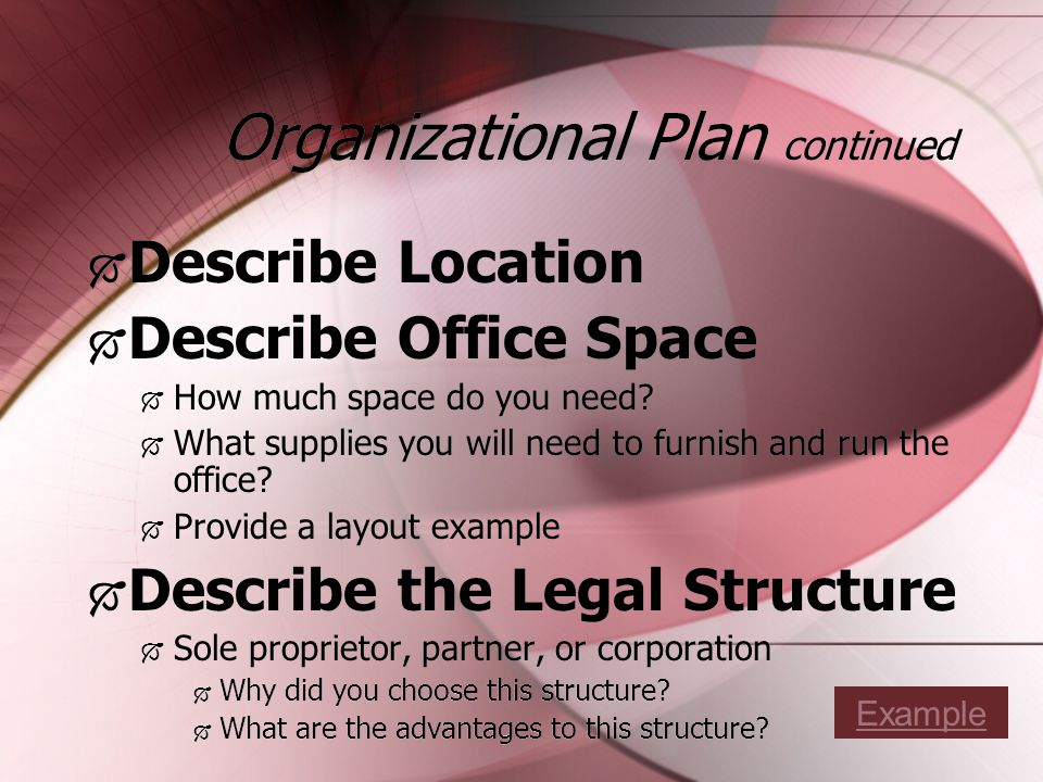 Organizational Plan continued Describe Location Describe Office Space How much space do you need.