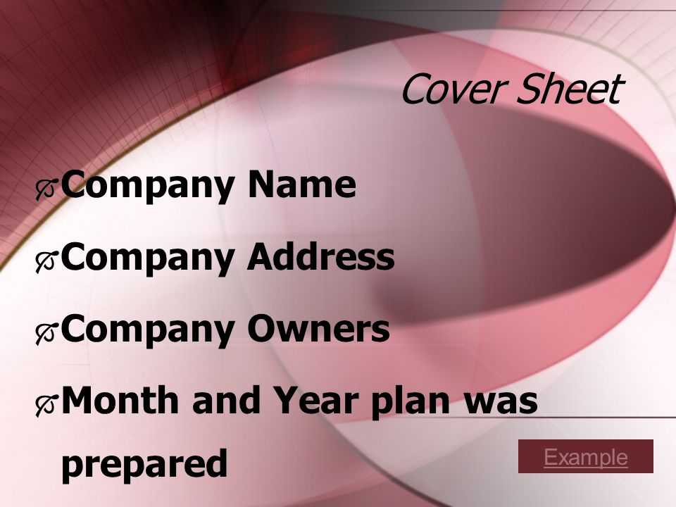 Cover Sheet Company Name Company Address Company Owners Month and Year plan was prepared Company Name Company Address Company Owners Month and Year plan was prepared Example
