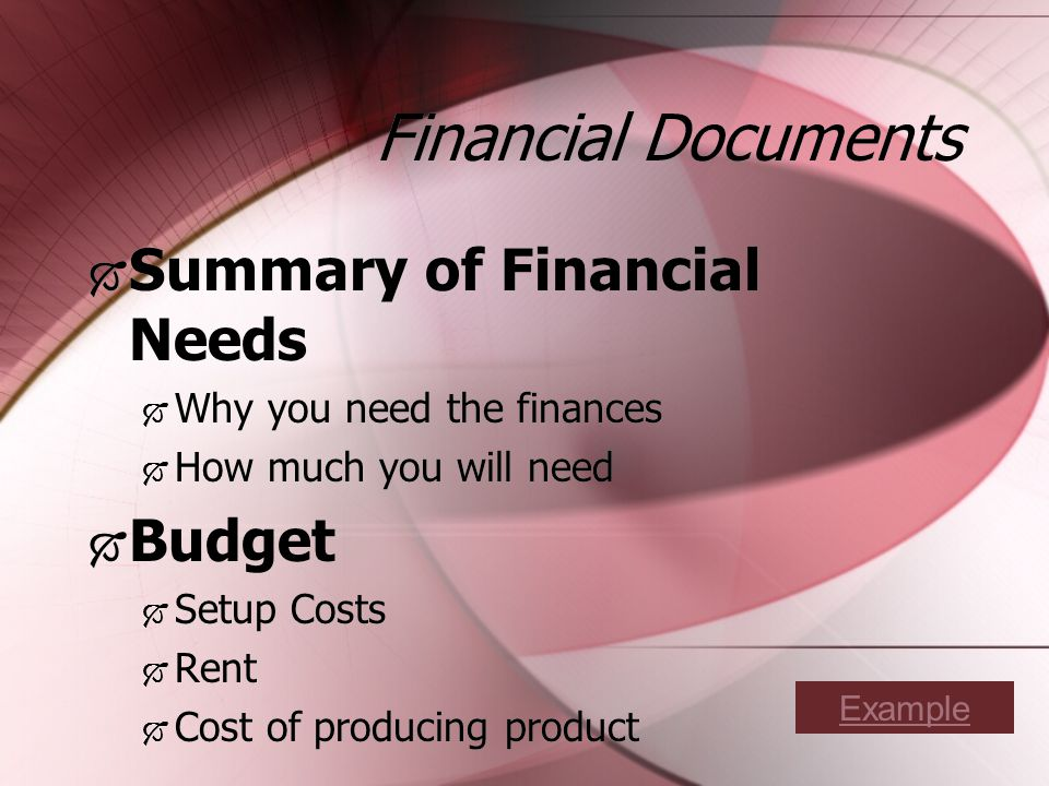Financial Documents Summary of Financial Needs Why you need the finances How much you will need Budget Setup Costs Rent Cost of producing product Summary of Financial Needs Why you need the finances How much you will need Budget Setup Costs Rent Cost of producing product Example