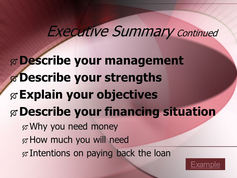 Executive Summary Continued Describe your management Describe your strengths Explain your objectives Describe your financing situation Why you need money How much you will need Intentions on paying back the loan Describe your management Describe your strengths Explain your objectives Describe your financing situation Why you need money How much you will need Intentions on paying back the loan Example