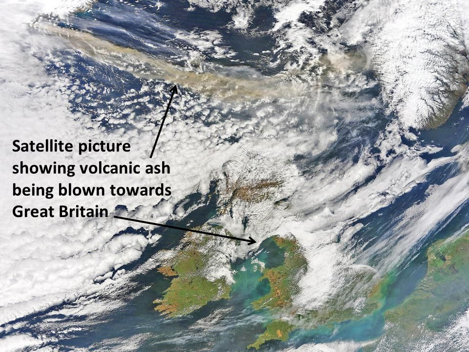 Satellite picture showing volcanic ash being blown towards Great Britain