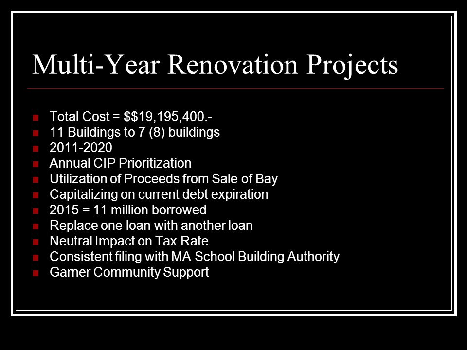 Multi-Year Renovation Projects Total Cost = $$19,195,400.- 11 Buildings to 7 (8) buildings 2011-2020 Annual CIP Prioritization Utilization of Proceeds