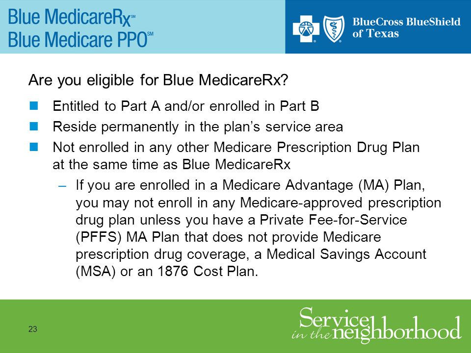 23 Are you eligible for Blue MedicareRx.