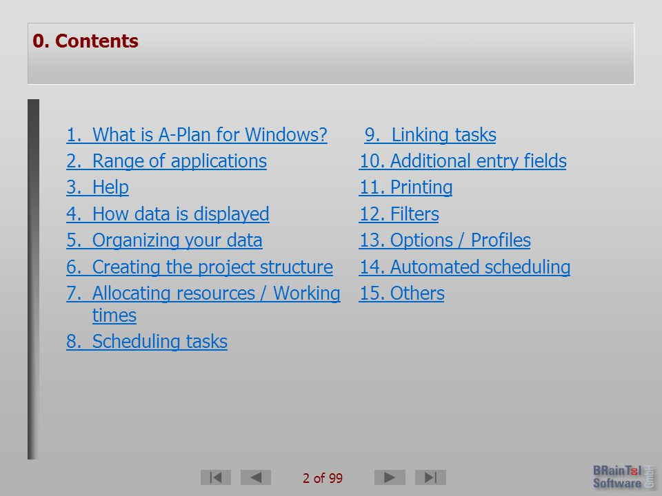 93 of 99 1.What is A-Plan for Windows. 2. Range of applications 3.