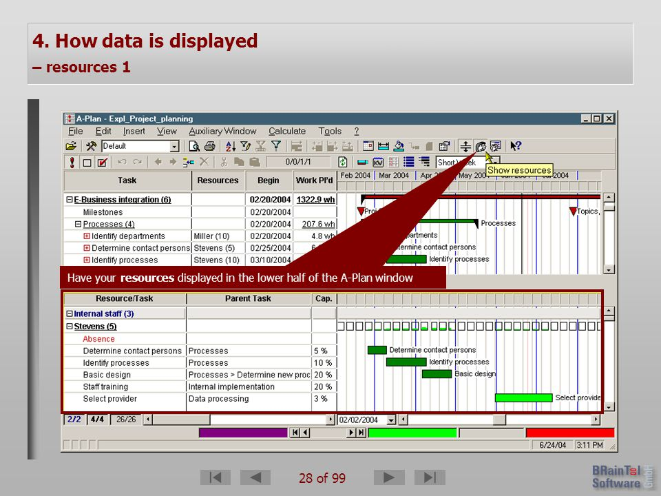 28 of 99 4. How data is displayed – resources 1 Have your resources displayed in the lower half of the A-Plan window