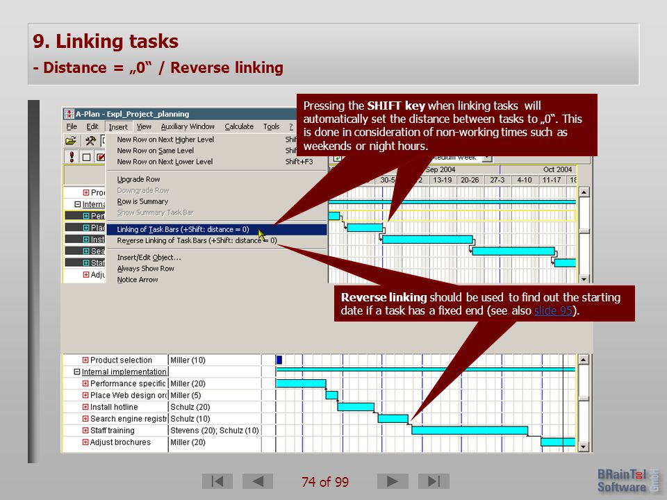 74 of 99 9. Linking tasks - Distance = 0 / Reverse linking Reverse linking should be used to find out the starting date if a task has a fixed end (see