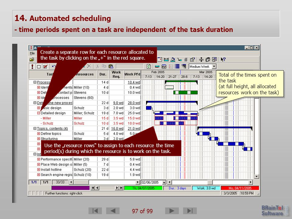 97 of 99 14. Automated scheduling - time periods spent on a task are independent of the task duration Create a separate row for each resource allocate