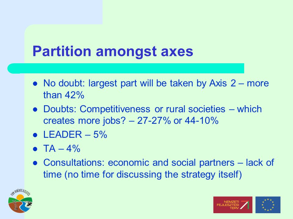 Partition amongst axes No doubt: largest part will be taken by Axis 2 – more than 42% Doubts: Competitiveness or rural societies – which creates more jobs.