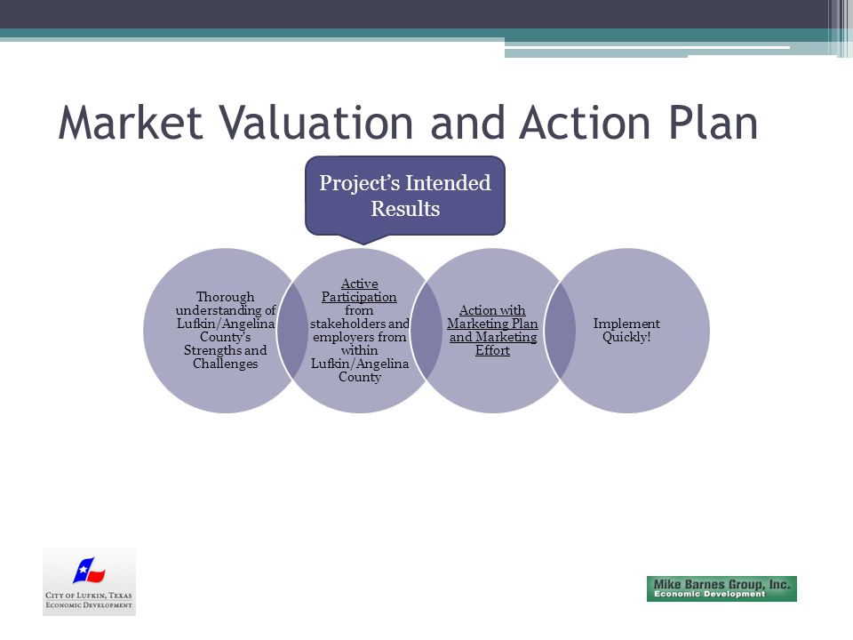 Market Valuation and Action Plan Strengths/Weaknesses/Opportunities/Threats Business ClimateWorkforce/Education Infrastructure/Sites Quality of Life Economic Development and Marketing
