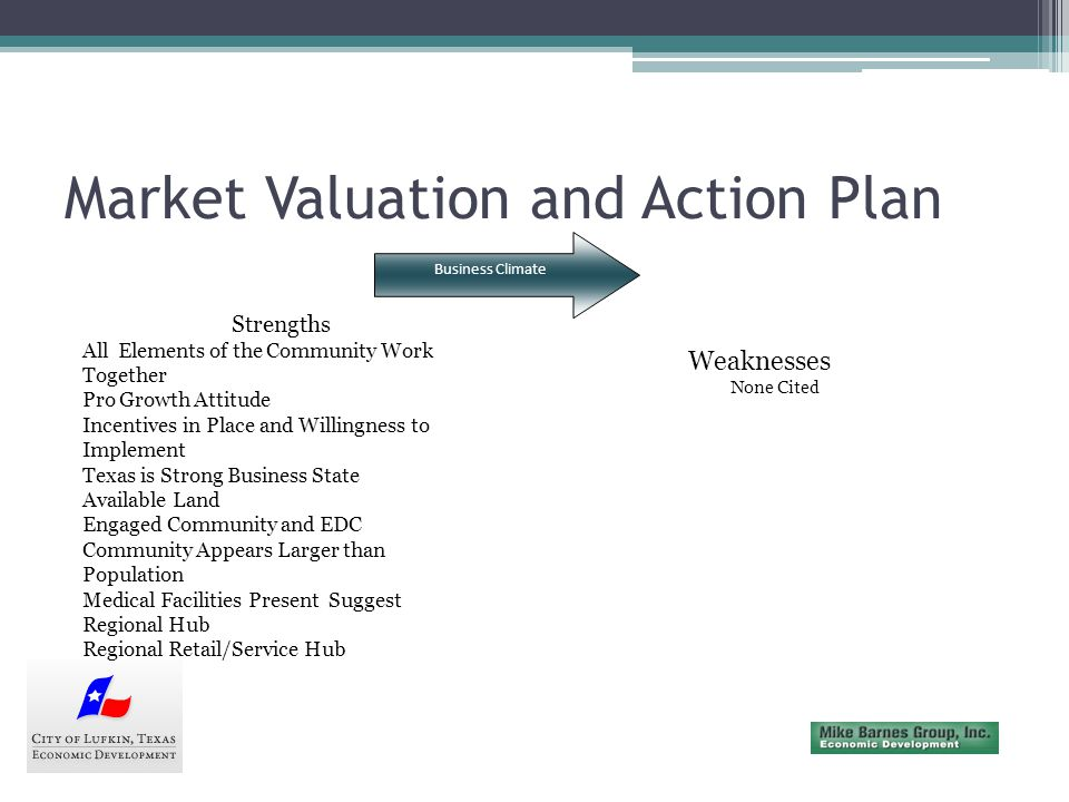 Market Valuation and Action Plan Targeted Industries Are there local assets that give specific industries a competitive edge.