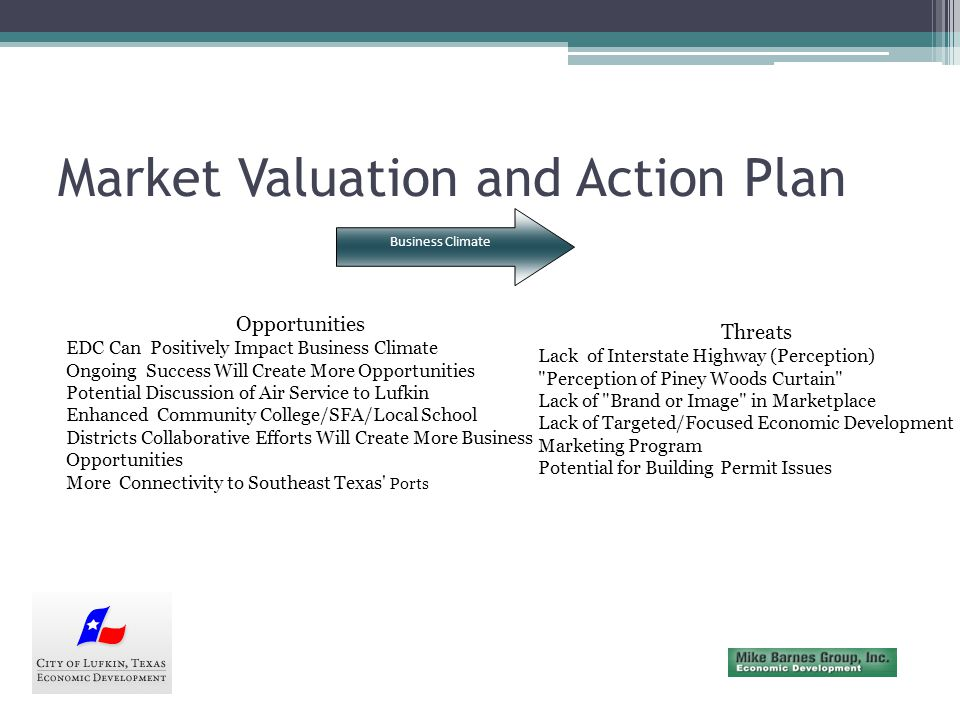 Market Valuation and Action Plan Workforce/Education Strengths All 6 Districts are Recognized Outstanding Relationship Between Community and Angelina College Magnet Schools Receive High Marks Higher Skills Present in the Workforce Training for Needed Skills Available Workforce Commutes from Within Region Business and WIB Work Well Pilot Project (s) Get Workers Ramped Quickly (Nursing is Example) Weaknesses Lack of Quality Customer Service Training Lack of Integration in Business Community with Pre-K--12 Soft Skills Need Improvement Large Pool of Experienced Workers not Available Tradition of Heavy Industry Orientation While Economy Shifts Perception of the Pine Forest Curtain in Terms of Education/Workforce