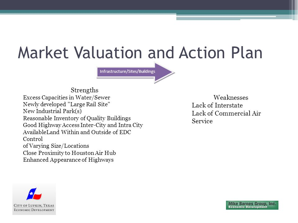 Market Valuation and Action Plan Infrastructure/Sites/Buildings Opportunities Consideration of Local/Regional Commercial Air Service Enhanced Public/Private Partnerships to Provide Sites/Buildings to End Users-- Risk/Entrepreneurial Create Locations for Changing Economy Business/Industry Threats Perception of Lack of Business/Industrial Locations Within the Pine Curtain Lack of Willingness to Continue Development of Sites