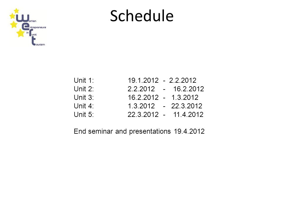 Schedule Unit 1: 19.1.2012 - 2.2.2012 Unit 2: 2.2.2012 - 16.2.2012 Unit 3: 16.2.2012 - 1.3.2012 Unit 4: 1.3.2012 - 22.3.2012 Unit 5: 22.3.2012 - 11.4.2012 End seminar and presentations 19.4.2012
