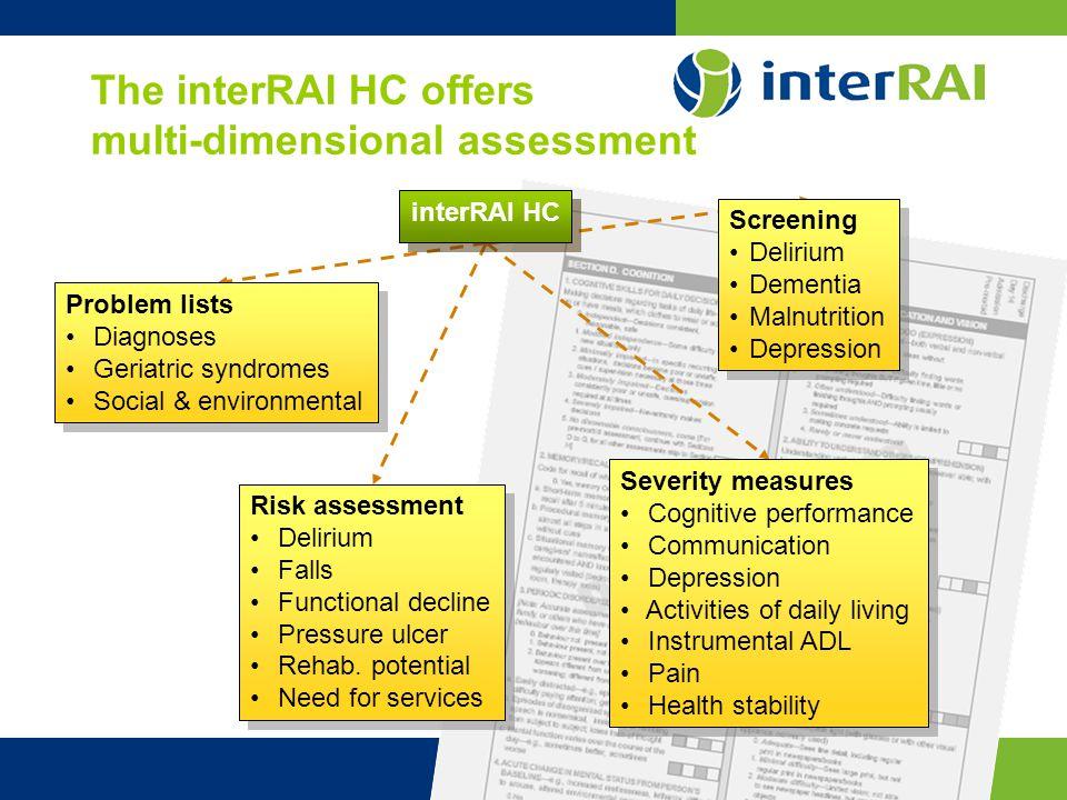 www.interrai.org The interRAI HC offers multi-dimensional assessment interRAI HC Screening Delirium Dementia Malnutrition Depression Screening Deliriu