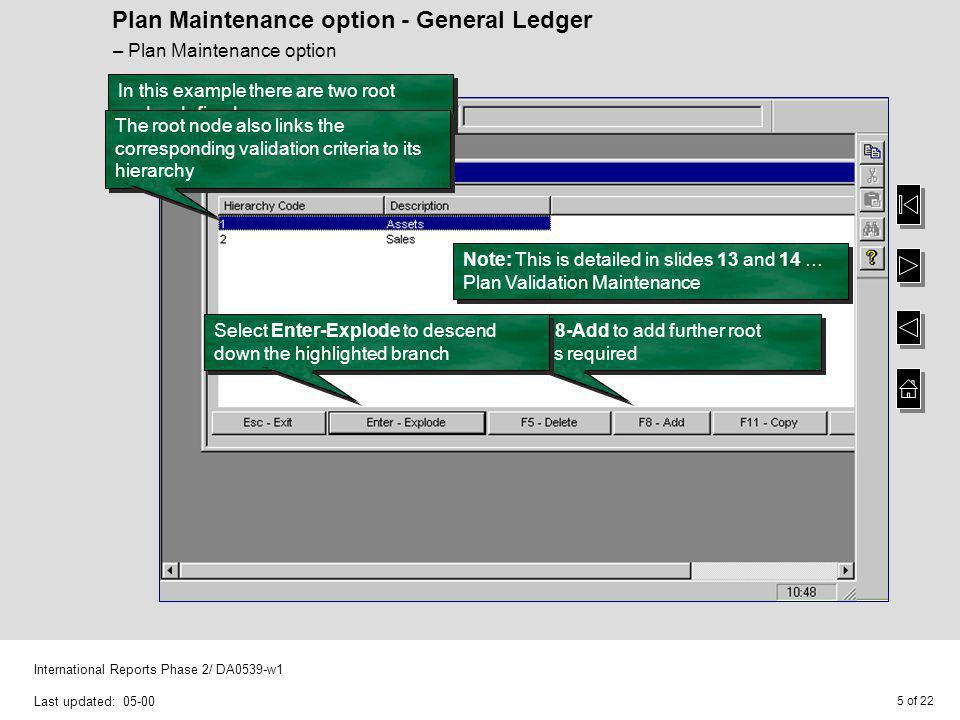 6 of 22 International Reports Phase 2/ DA0539-w1 Last updated: 05-00 Plan Maintenance option - General Ledger For this example, root node 1 (Assets) has been exploded and the node code 11 (Cars) is to be added – Plan Maintenance option Note: There is no restriction on the characters that can be used for the node codes, i.e.