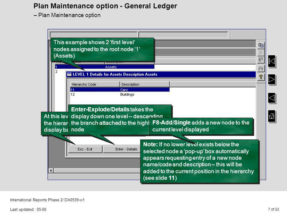 8 of 22 International Reports Phase 2/ DA0539-w1 Last updated: 05-00 Plan Maintenance option - General Ledger Where F11-Copy copies root nodes, and therefore copies entire hierarchies to the new root node name and description entered With the only variation on these functions being at the top level – Plan Maintenance option And F12-Toggle (not shown) switches between the top level and a list of all hierarchy node codes