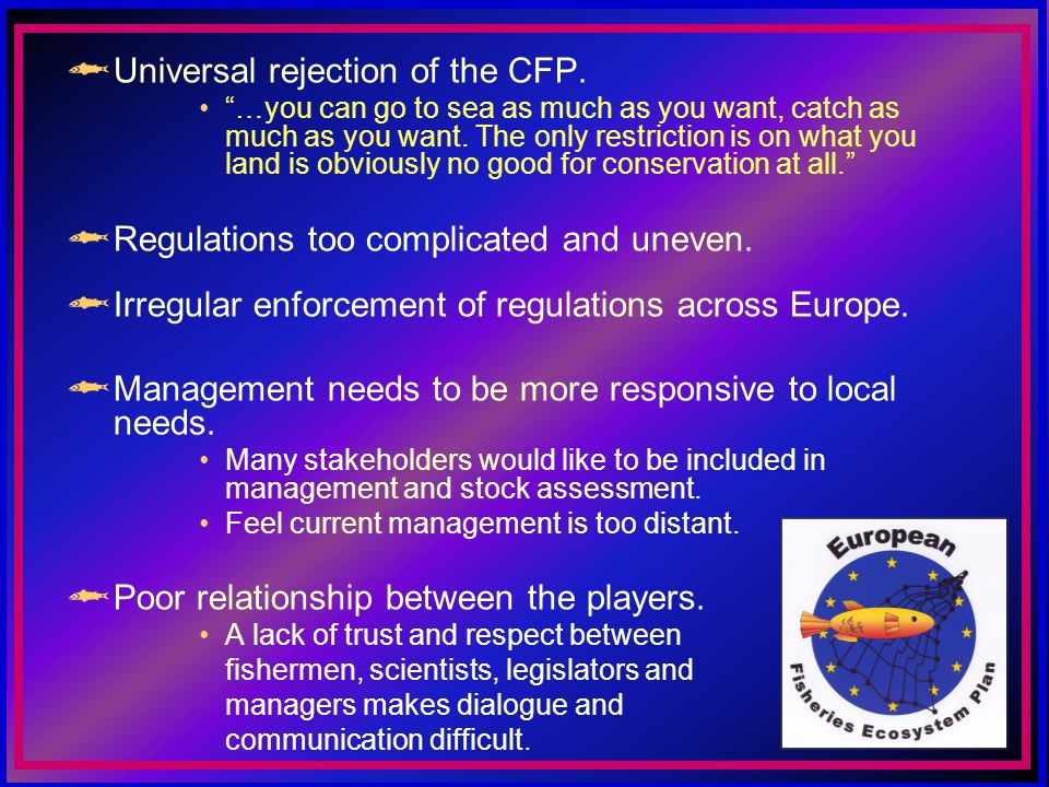 Universal rejection of the CFP. …you can go to sea as much as you want, catch as much as you want.