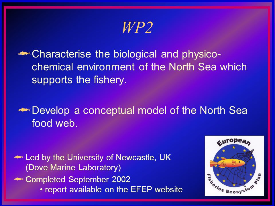 WP2 Characterise the biological and physico- chemical environment of the North Sea which supports the fishery. Develop a conceptual model of the North