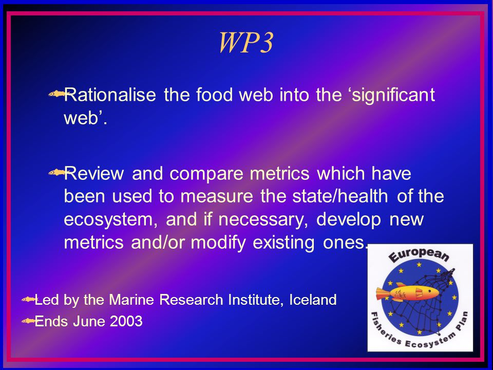 WP3 Rationalise the food web into the significant web.