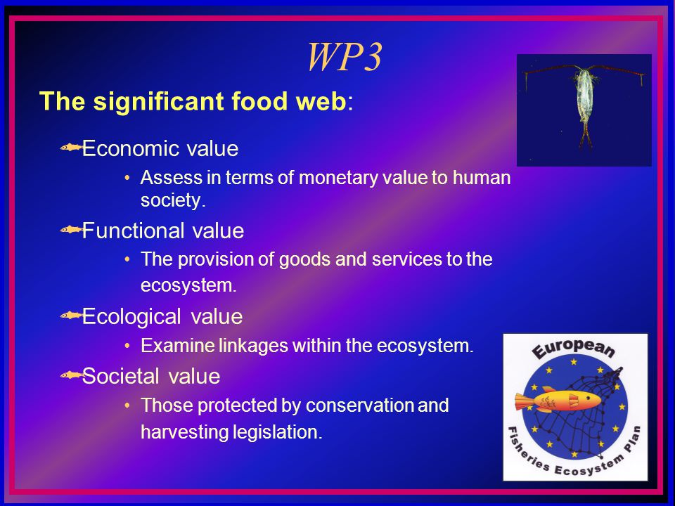 WP3 Economic value Assess in terms of monetary value to human society.