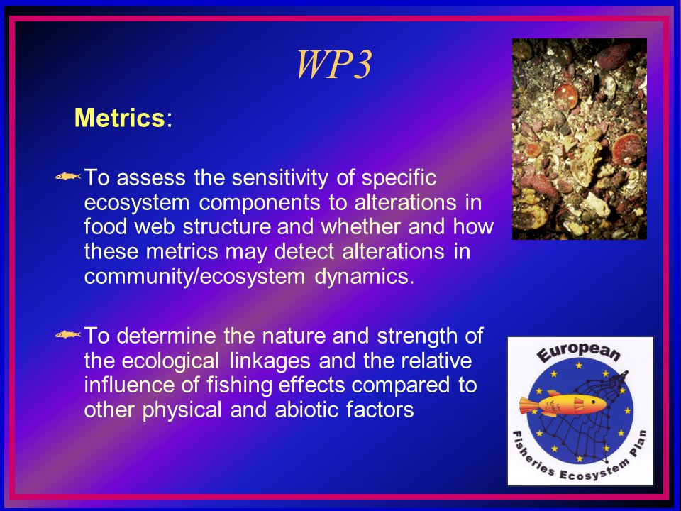 WP3 To assess the sensitivity of specific ecosystem components to alterations in food web structure and whether and how these metrics may detect alterations in community/ecosystem dynamics.