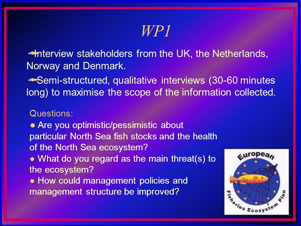 WP1 Questions: Are you optimistic/pessimistic about particular North Sea fish stocks and the health of the North Sea ecosystem.