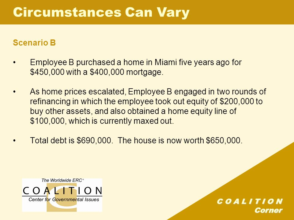 C O A L I T I O N Corner Scenario B Employee B purchased a home in Miami five years ago for $450,000 with a $400,000 mortgage.