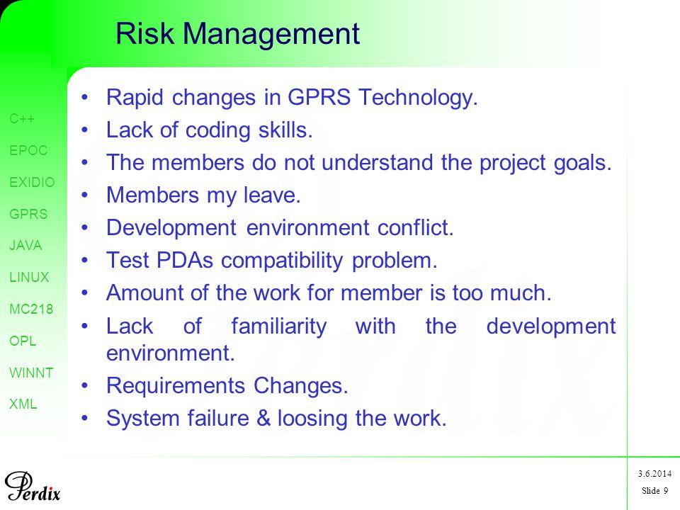 C++ EPOC EXIDIO GPRS JAVA LINUX MC218 OPL WINNT XML 3.6.2014 Slide 9 Risk Management Rapid changes in GPRS Technology.