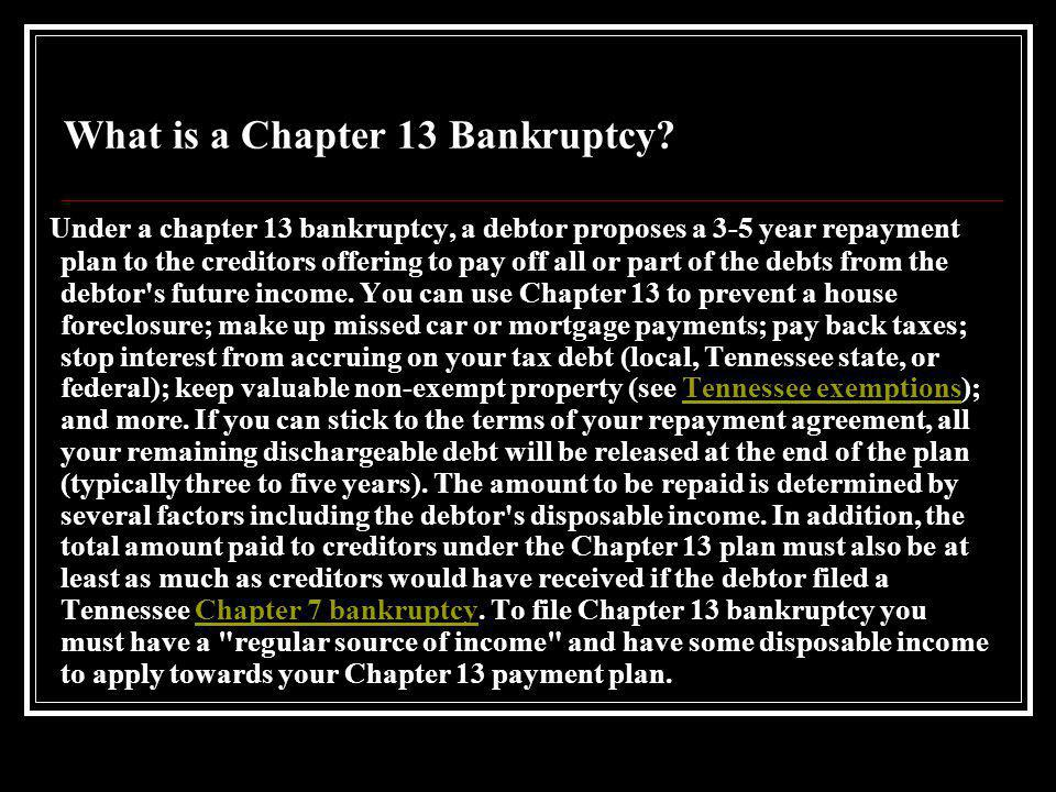 Topics We Will Cover What is a Chapter 13 Bankruptcy.