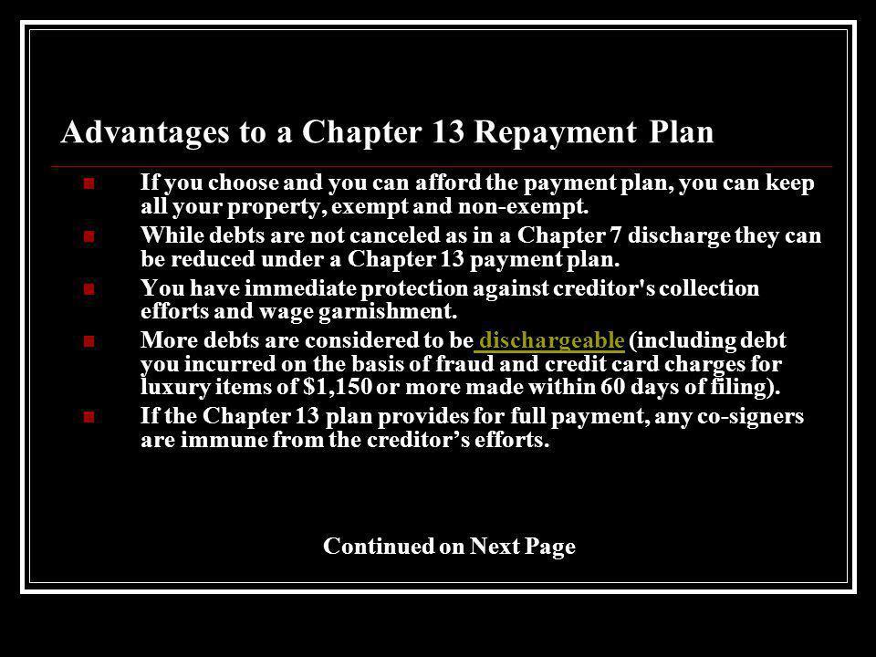 Chapter 13 vs.